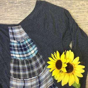 Altar'd State blue grey tshirt flannel dress